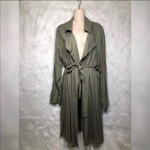 Maxi trench coat duster with belt